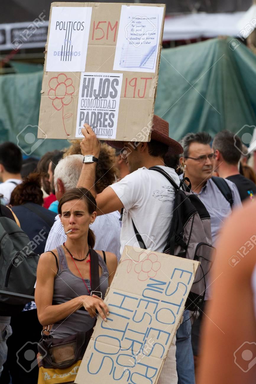 BARCELONA - JUNE 19: Protest in Placa Catalunya called