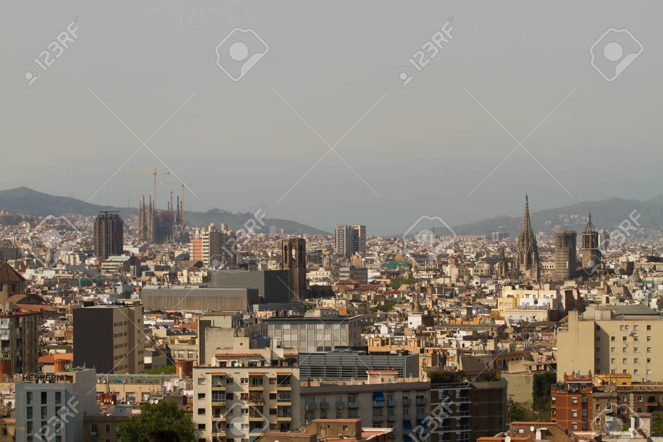 BARCELONA - MAY 14  Aerial view of Barcelona from the roof terrace on Montjuic on May 13, 2011 in, Barcelona, Spain Stock Photo - 13795767