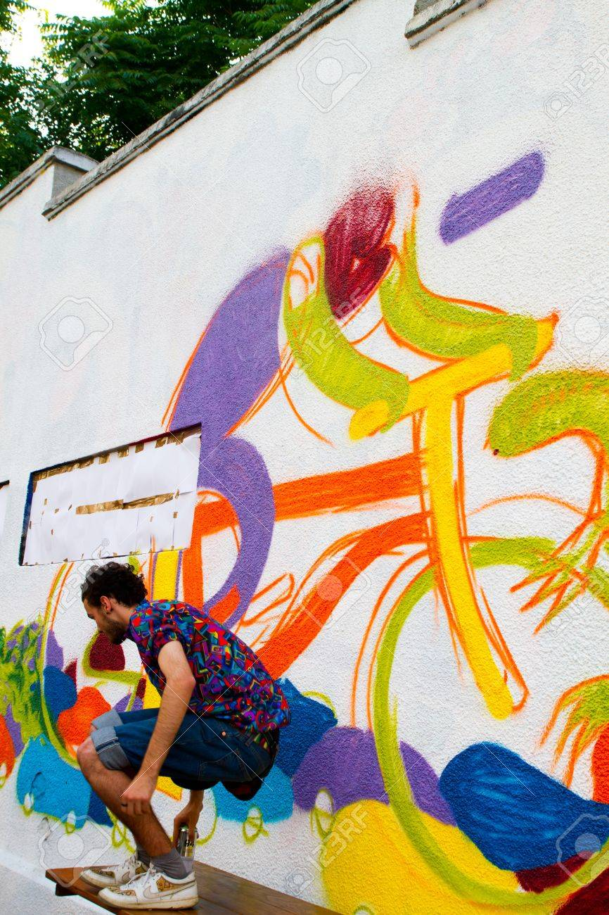 Bucharest June 15 Graffiti By Unknown Artists On Arthur Verona Painter Street Done As