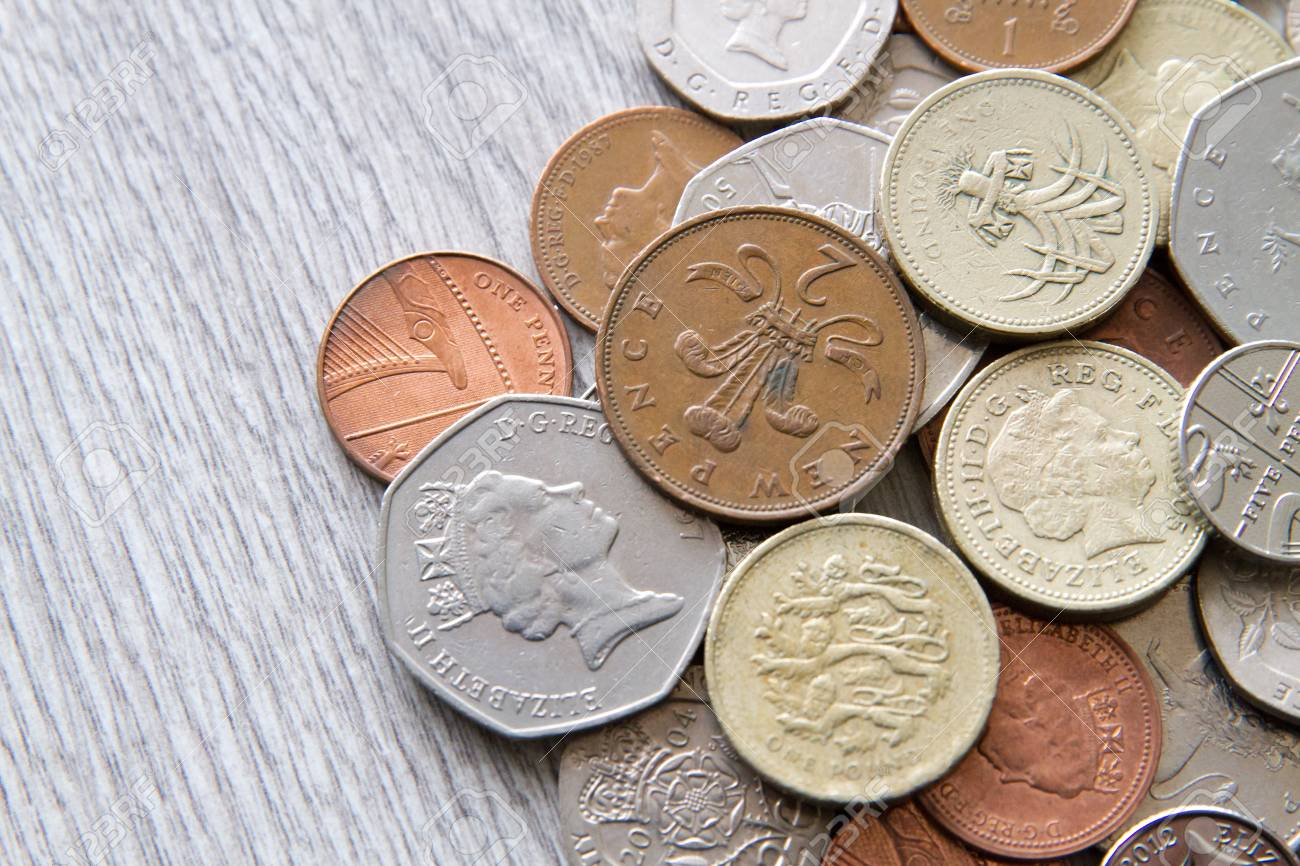 Mix of british coins - pence, penny, pounds