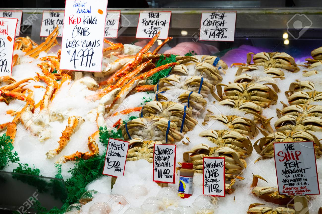 SEATTLE, WASHINGTON STATE - JANUARY 2019 - Seafood for sale