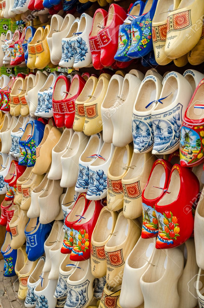 Stock Photo - Traditional Dutch clogs wooden shoes in a souvenir store in  Amsterdam b2d88d4f12b1
