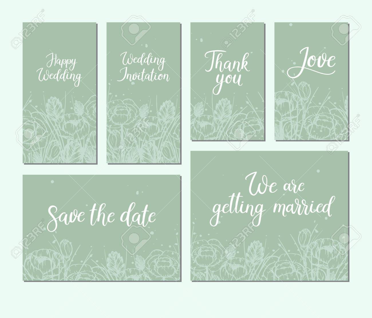 Set Of Wedding Cards Modern Calligraphy Hand Lettering Inscription