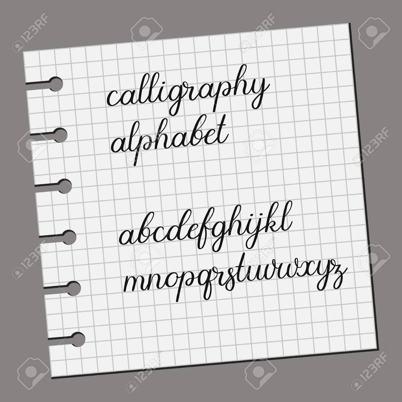 Calligraphy Alphabet Handwritten Font Vector Illustration Wedding Feather Ink Style Letters