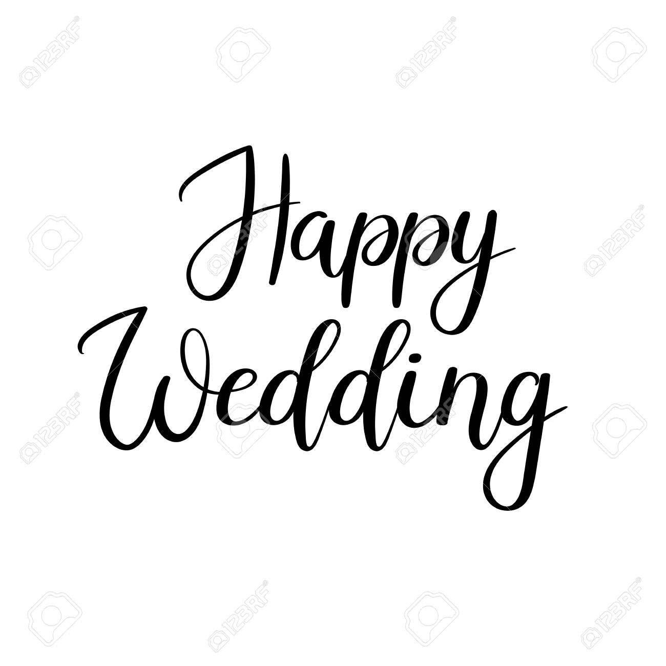 Banque d\u0027images , Texte de lettrage à la main de mariage heureux.  Inscription de calligraphie pour cartes de voeux, mariage
