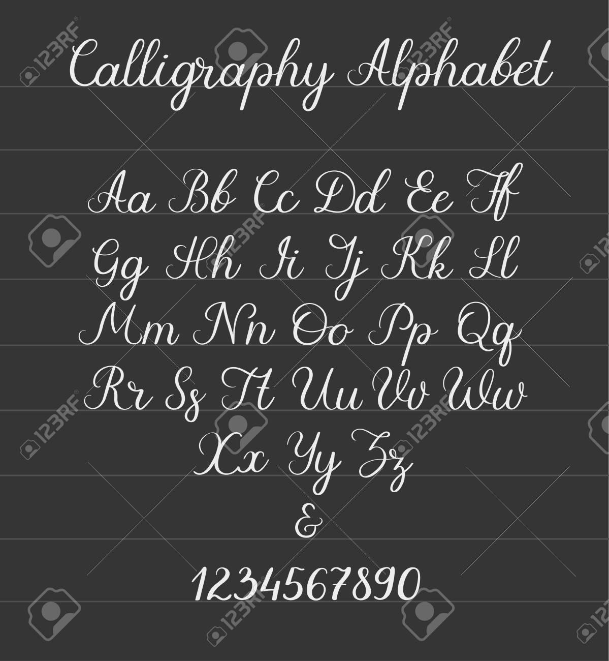 Wedding Calligraphy Fonts.Calligraphic Alphabet Handwritten Brush Font Uppercase Lowercase