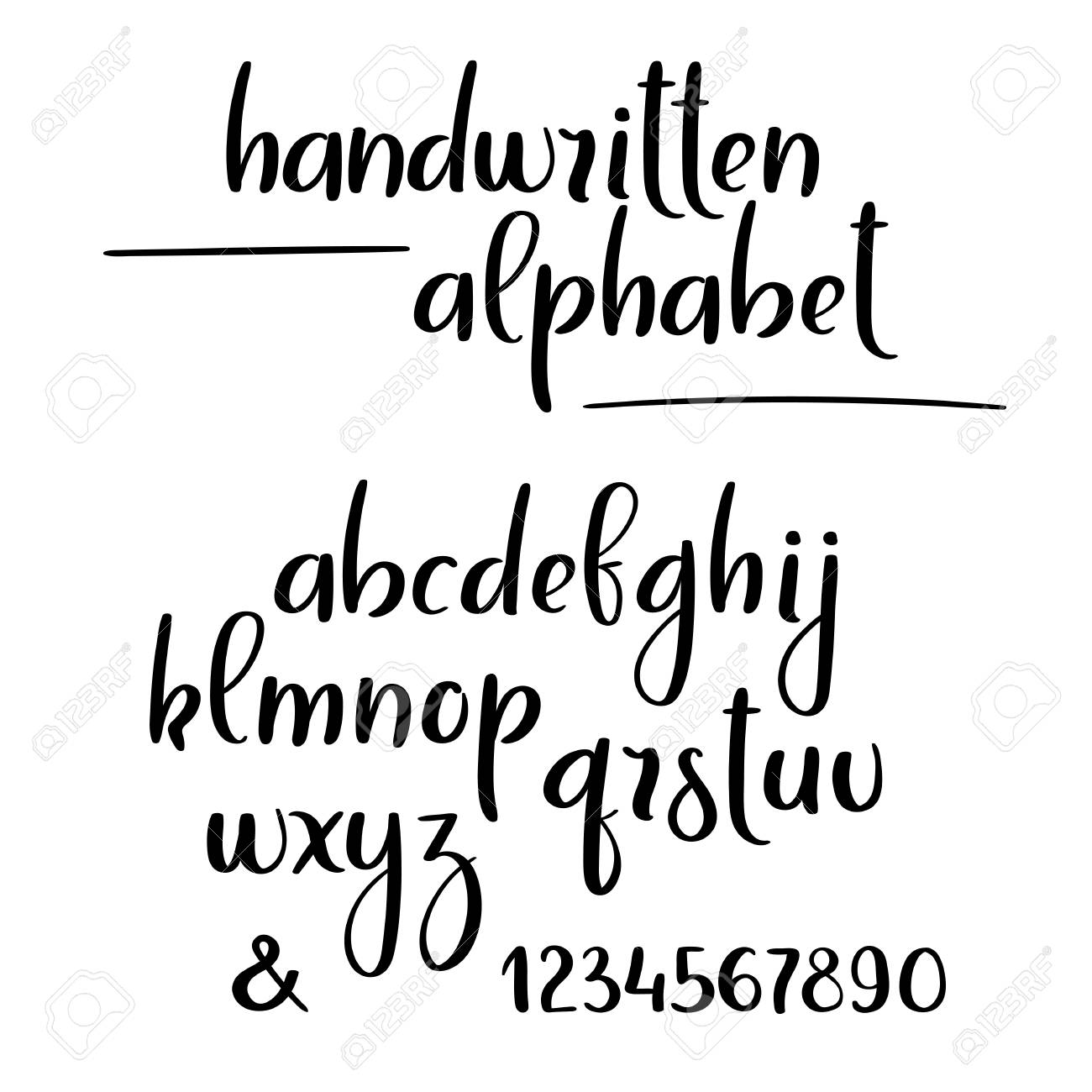 Brush Calligraphy Alphabet Hand Lettering Brushpen Letters And Numbers Stock Vector