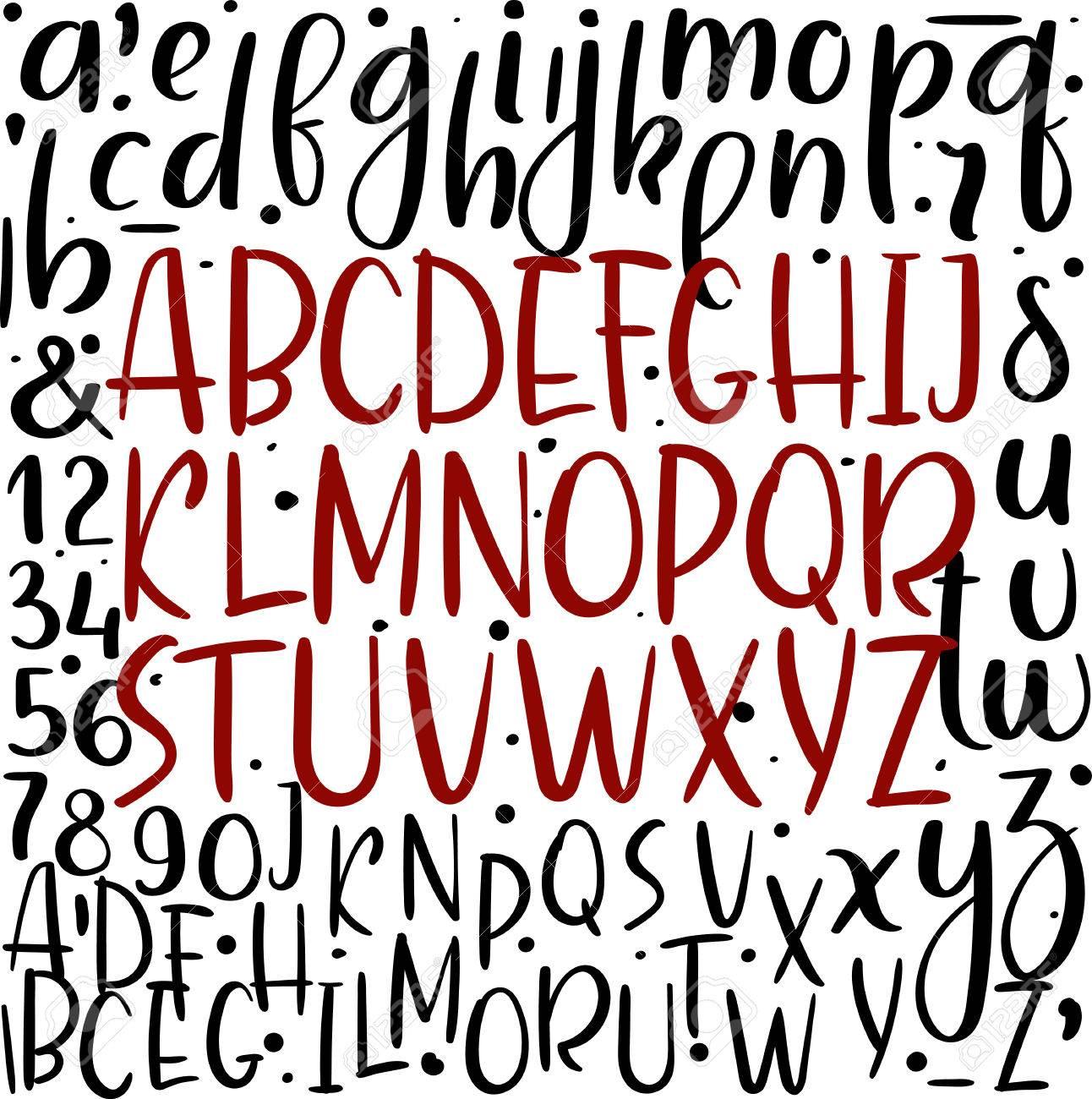 Handwritten Brush Style Letters Modern Calligraphy Alphabet Hand Lettering Stock Vector