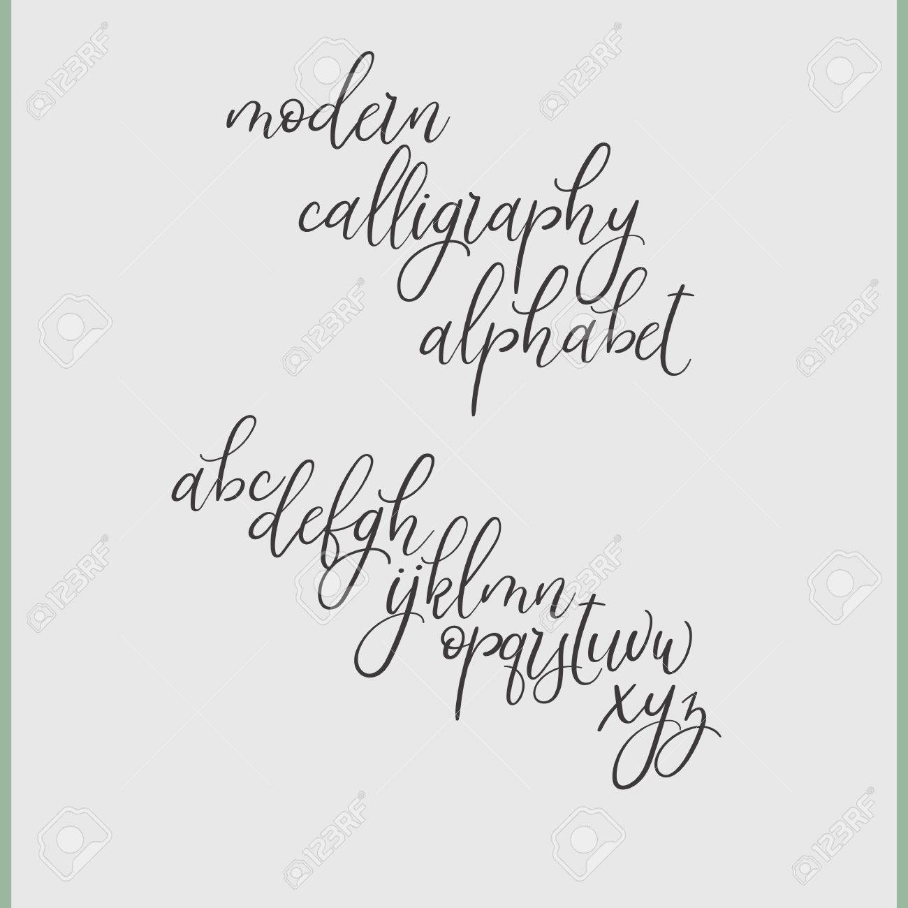 Handwritten Brush Style Letters Modern Calligraphy Hand Lettering Vector Alphabet Drawn Font