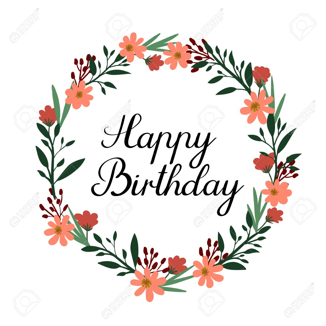 Happy Birthday Hand Lettering Greeting Card Vector Calligraphy Floral Wreath Stock