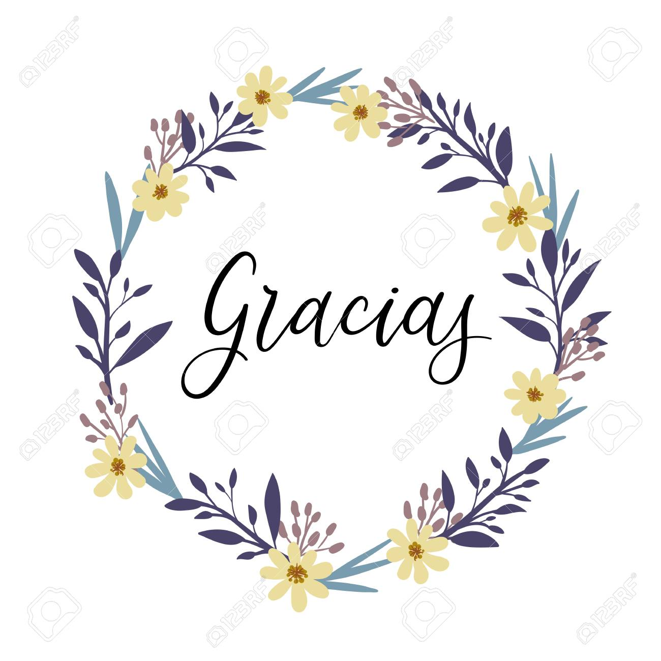 gracias. thank you in spanish calligraphy greeting card. vector
