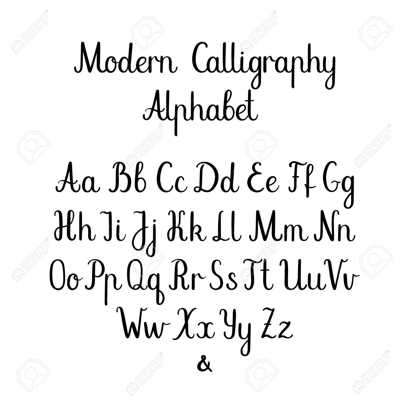 Handwritten Brush Letters ABC Modern Calligraphy Hand Lettering Vector Alphabet Stock