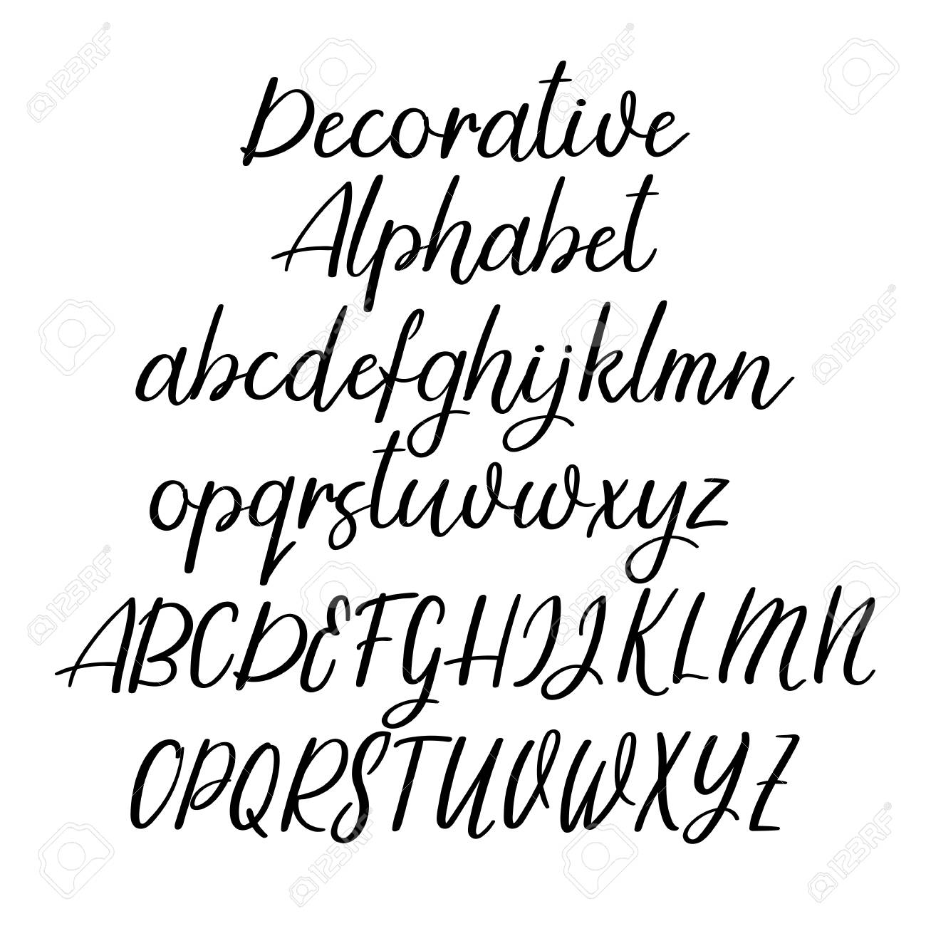 Modern Calligraphy Alphabet Handwritten Brush Letters Uppercase Lowercase Hand Lettering Font For