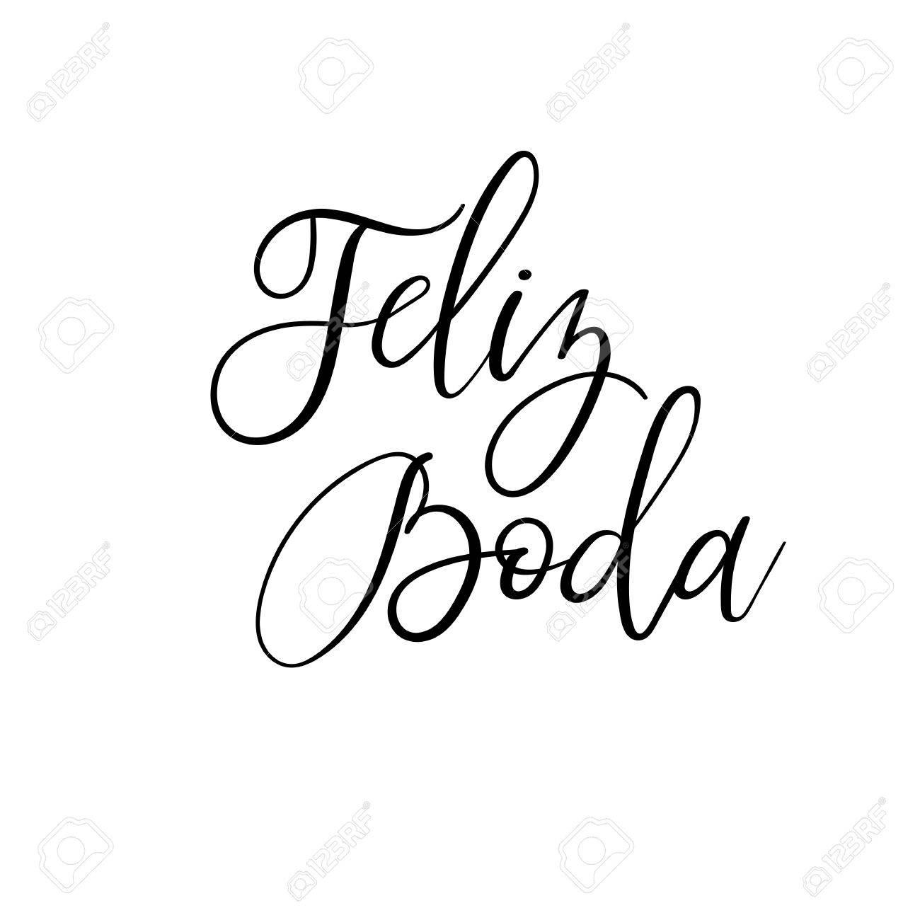 Happy Wedding Hand Lettering Text In Spanish Feliz Boda Calligraphy