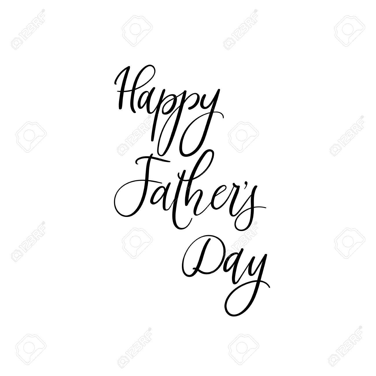 happy fathers day card hand lettering for fathers day ink illustration modern brush