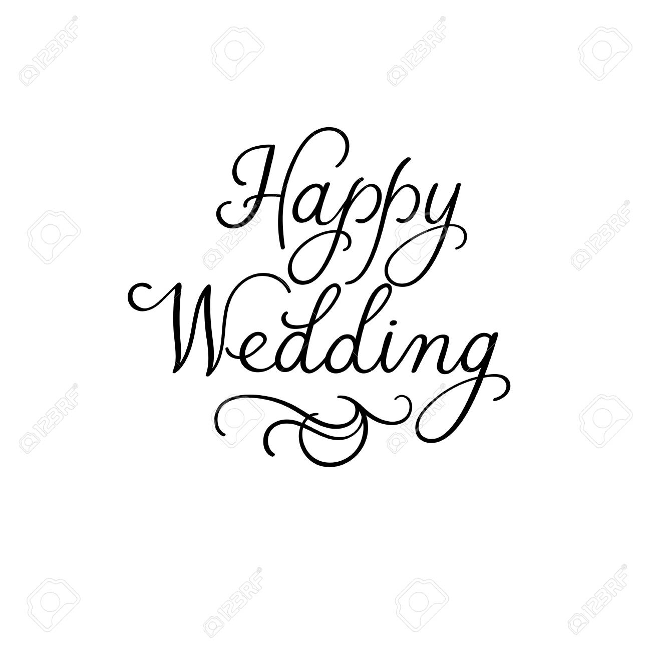 Happy Wedding Hand Lettering Text. Modern Calligraphy Inscription ...