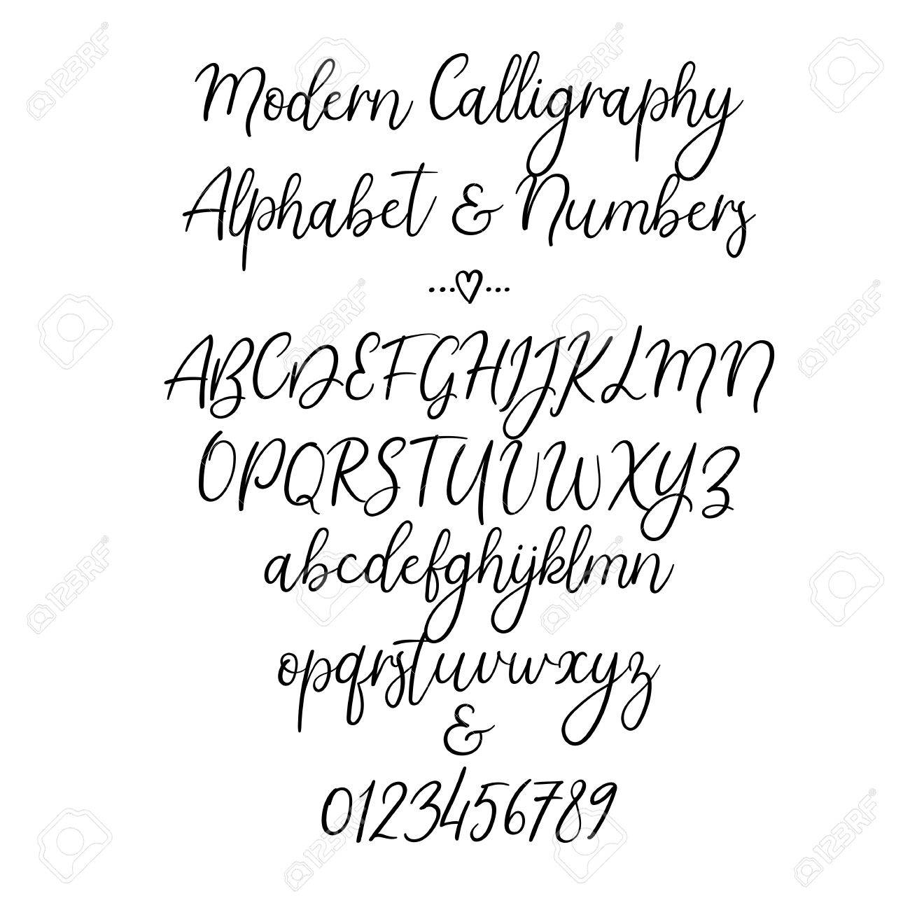 Vector Alphabet Brush Letters Handwritten Font Hand Lettering Typography Stock