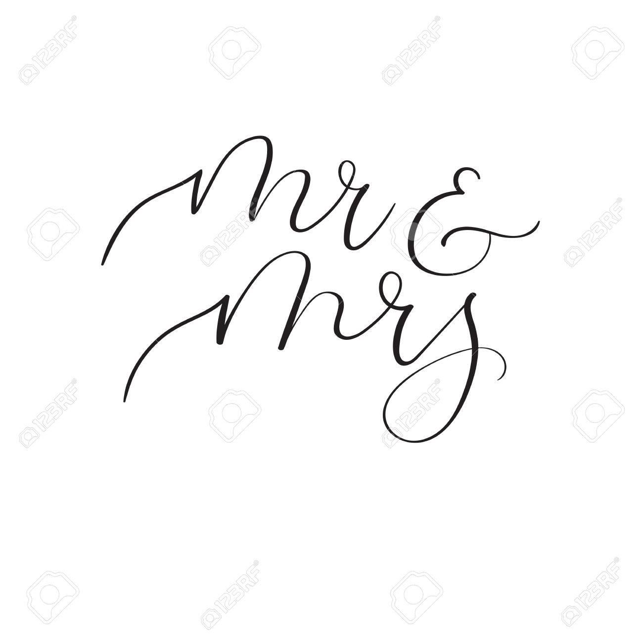 Mr And Mrs Hand Lettering Wedding Design For Wedding Invitation ...