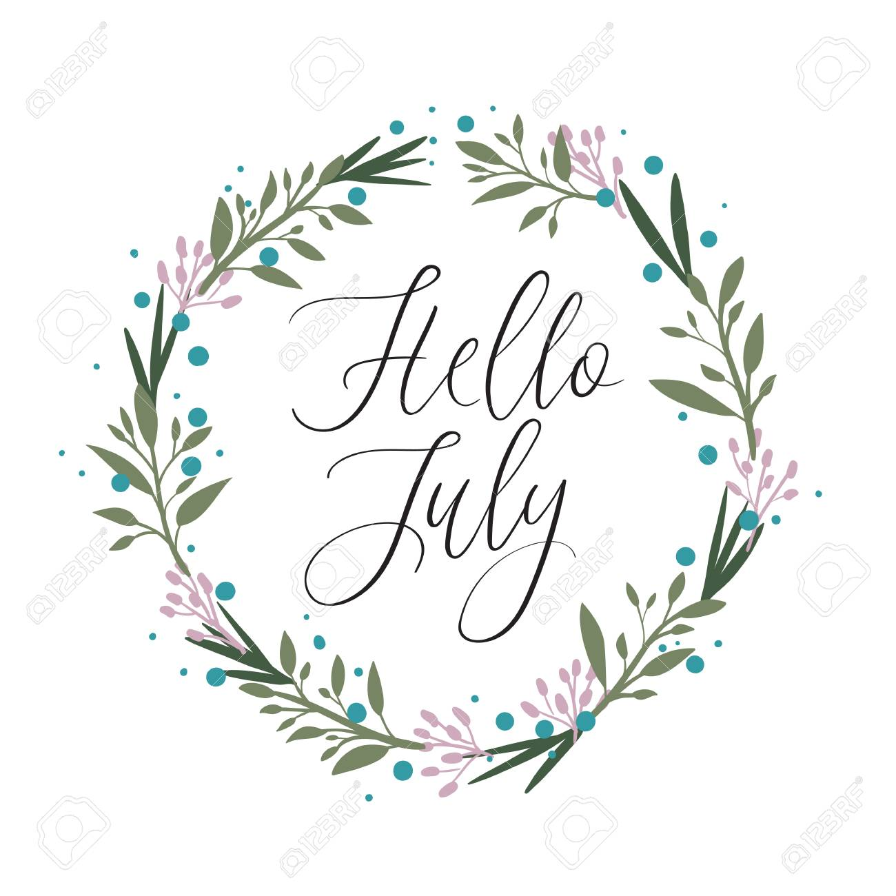Hello July Calligraphy Inscription. Summer Greeting Card With Floral  Wreath, Postcard, Card,