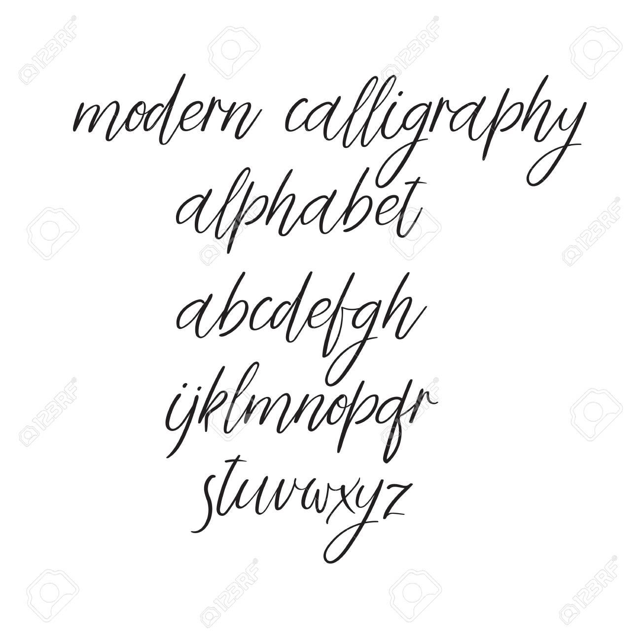 Decorative Hand Drawn Alphabet. Handwritten Vector Brush Font ...