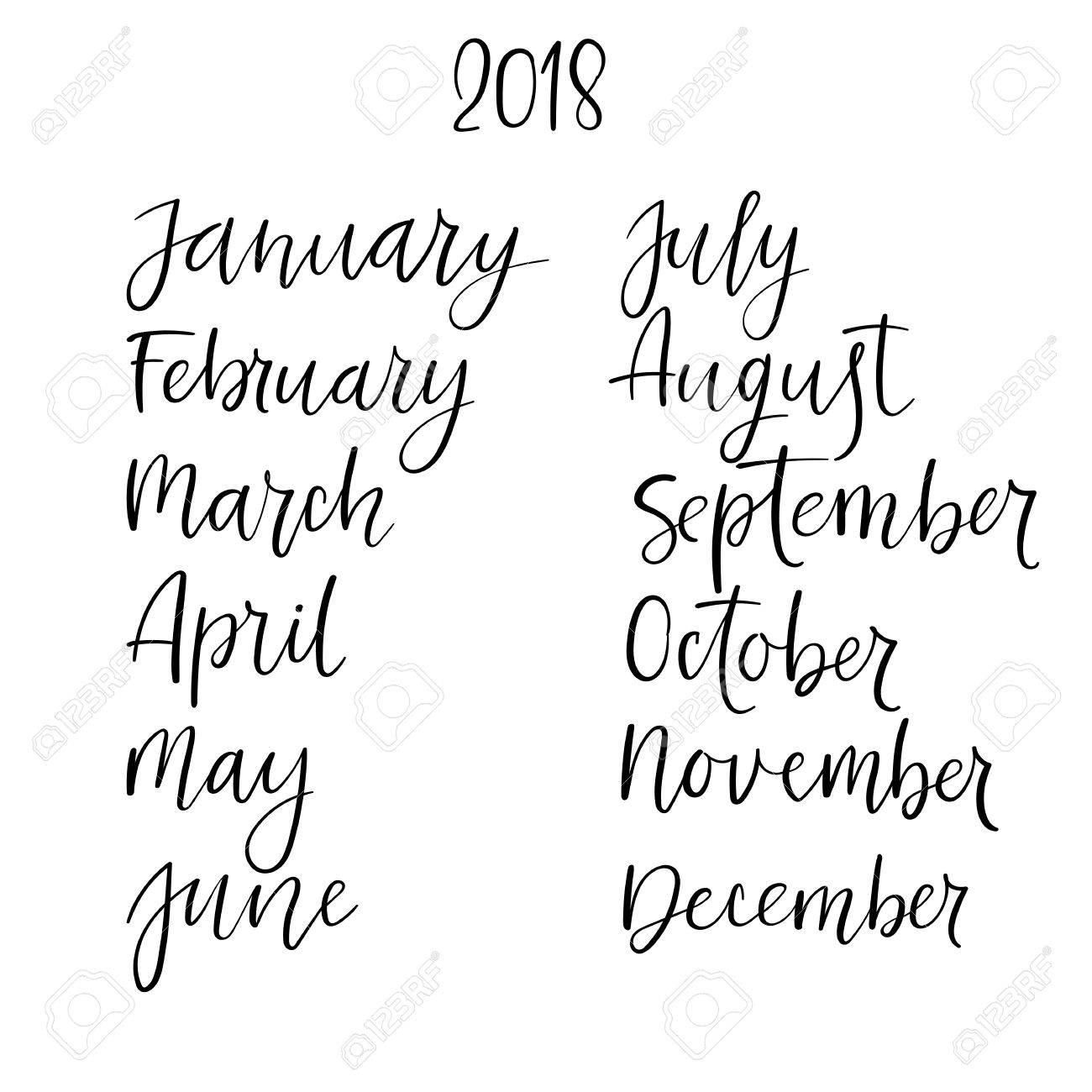 Brush Calligraphy Set Of Months Of The Year Handwritten Names