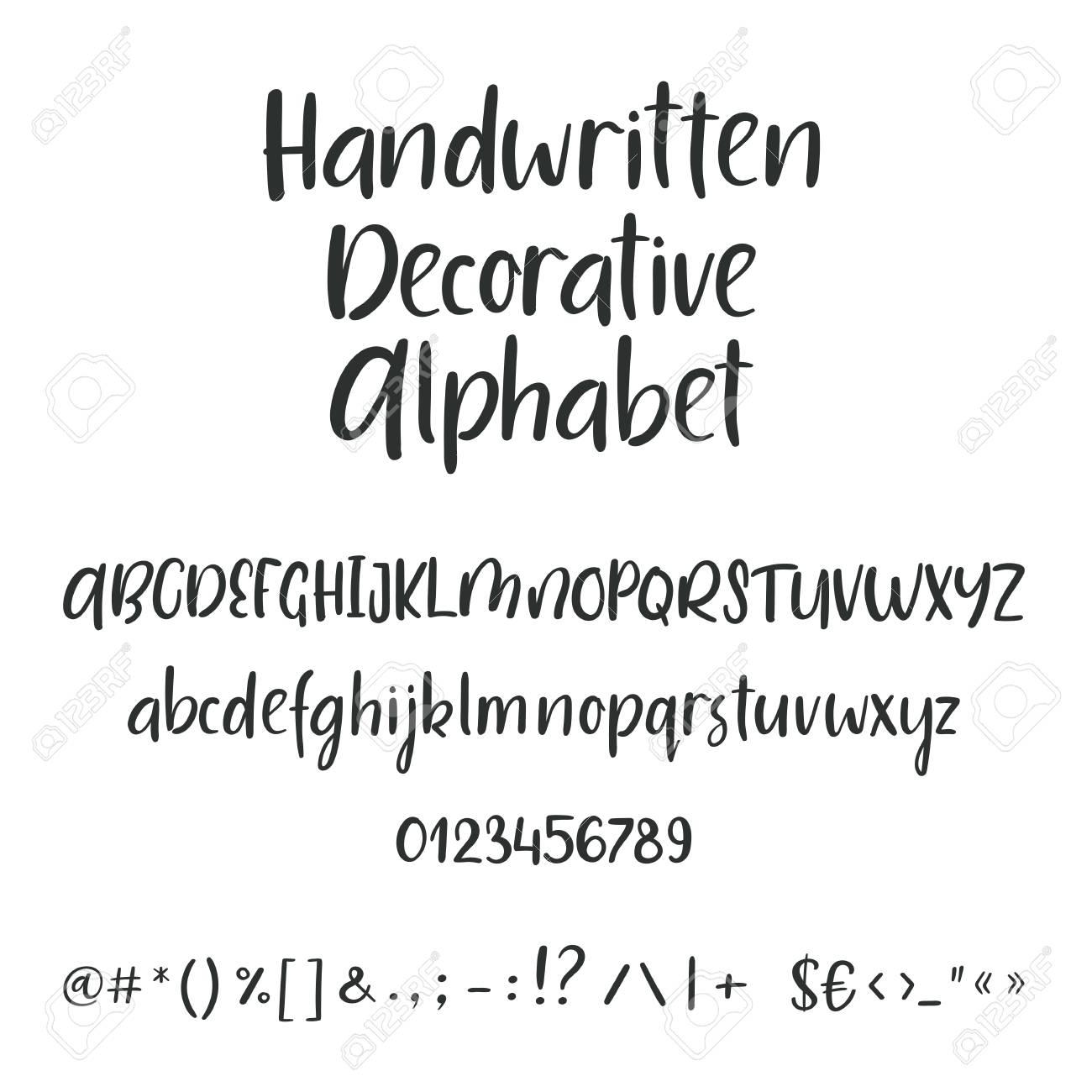 Hand Gezeichnetes Alphabet Grossbuchstaben Kleinbuchstaben Und