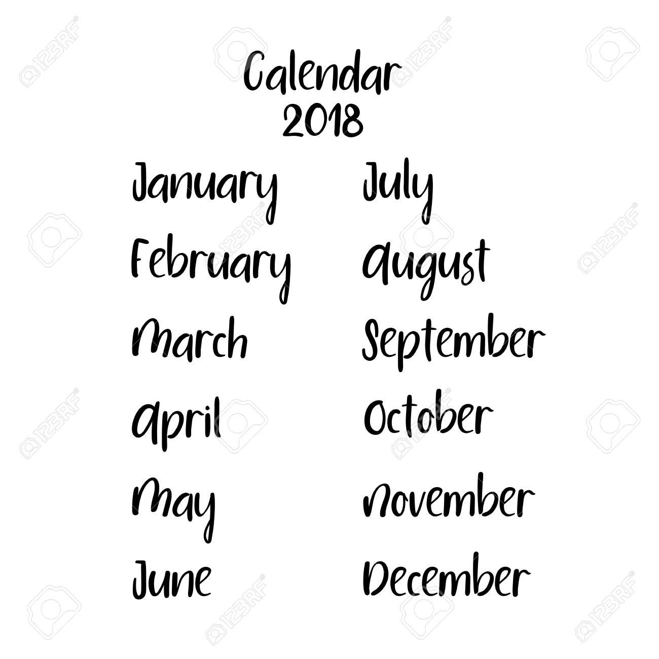 Handwritten Names Of Months Modern Calligraphy Vector Calendar 2018 Stock