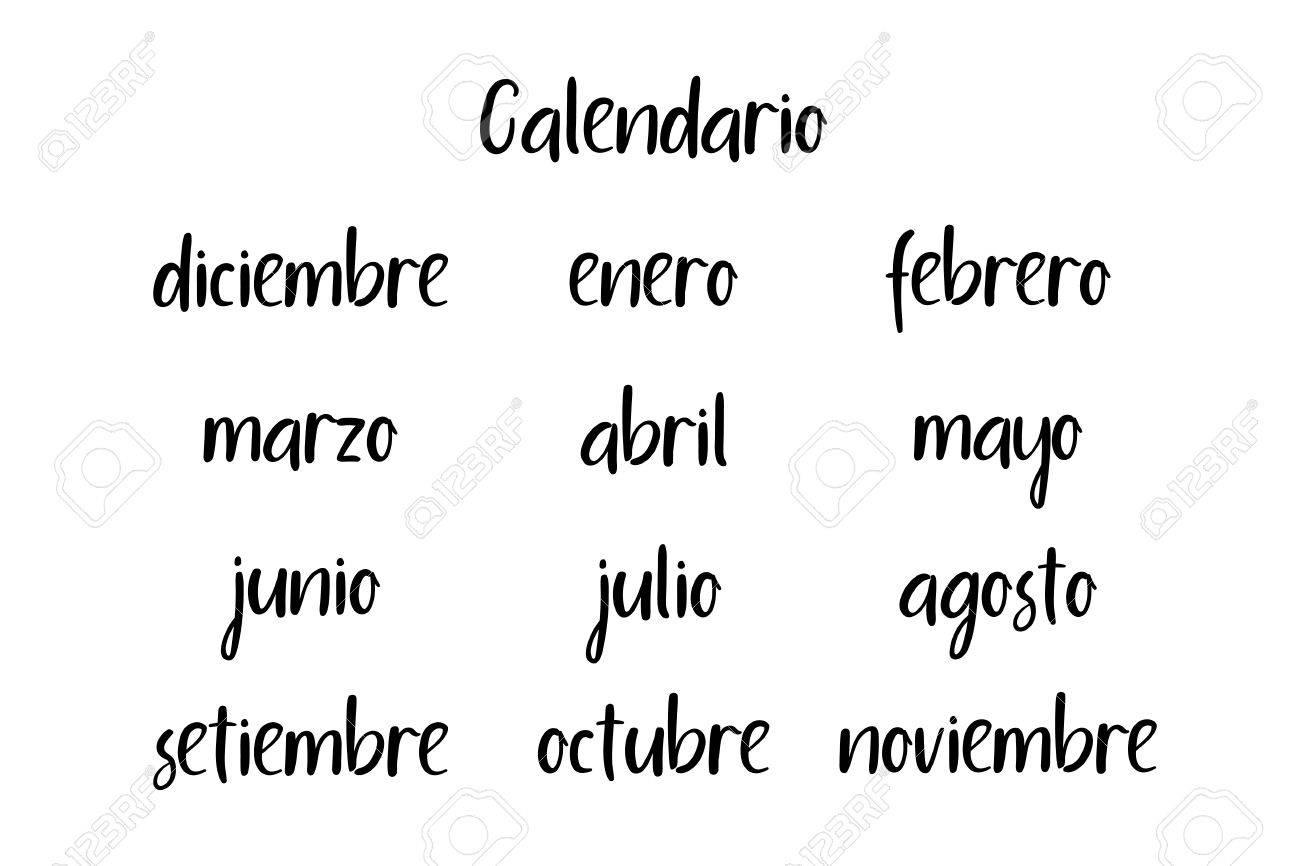 Spanish Names Of Months Modern Calligraphy Handwritten Vector Calendar 2018 Stock