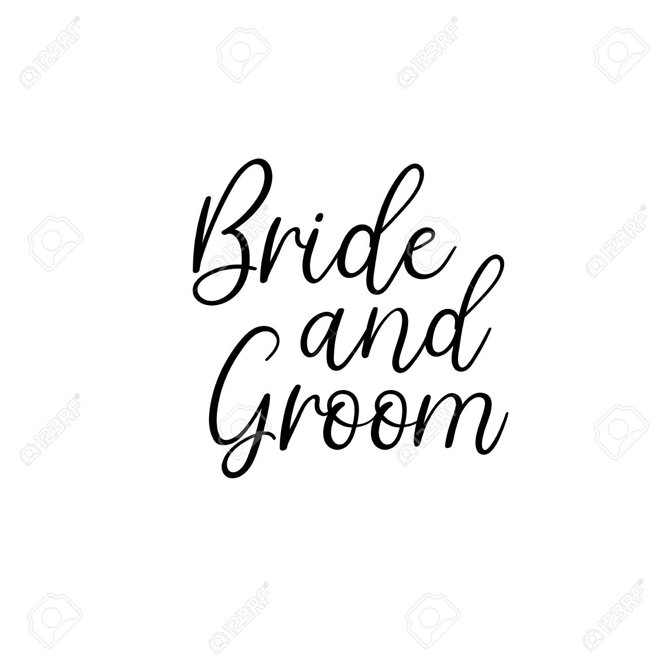 Bride And Groom Handwritten Text Calligraphy Inscription For