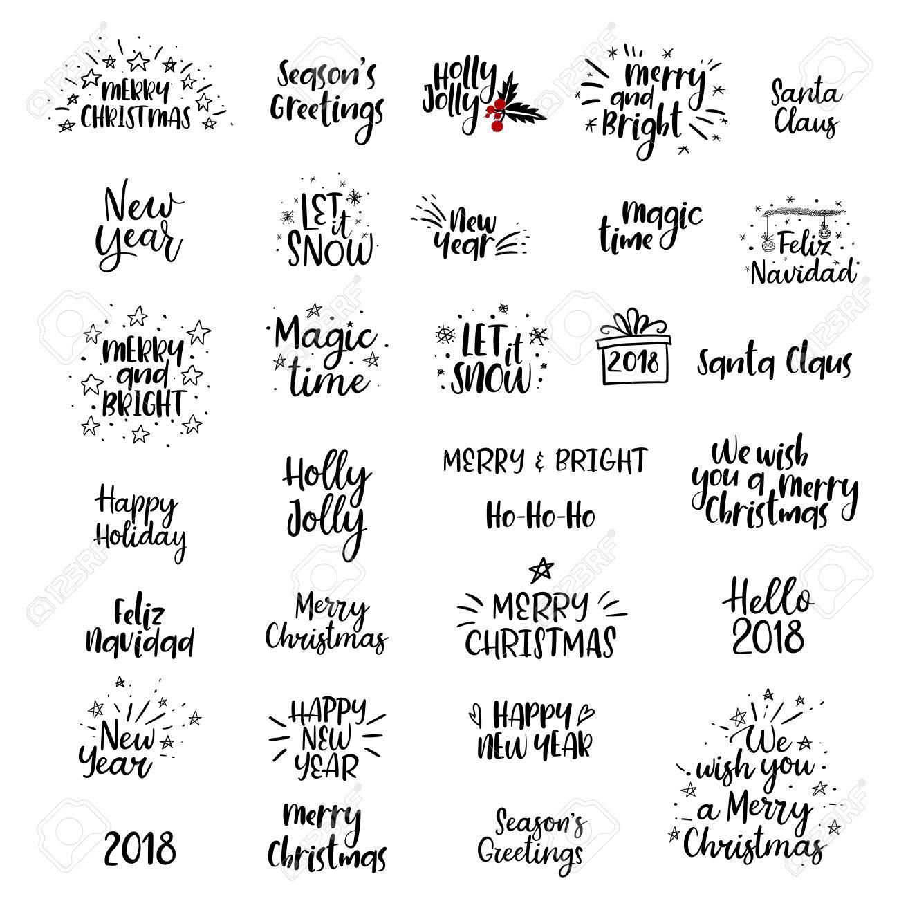 Feliz Navidad Feliz Ano Nuevo 2018 Juego Escrito A Mano Caligrafia