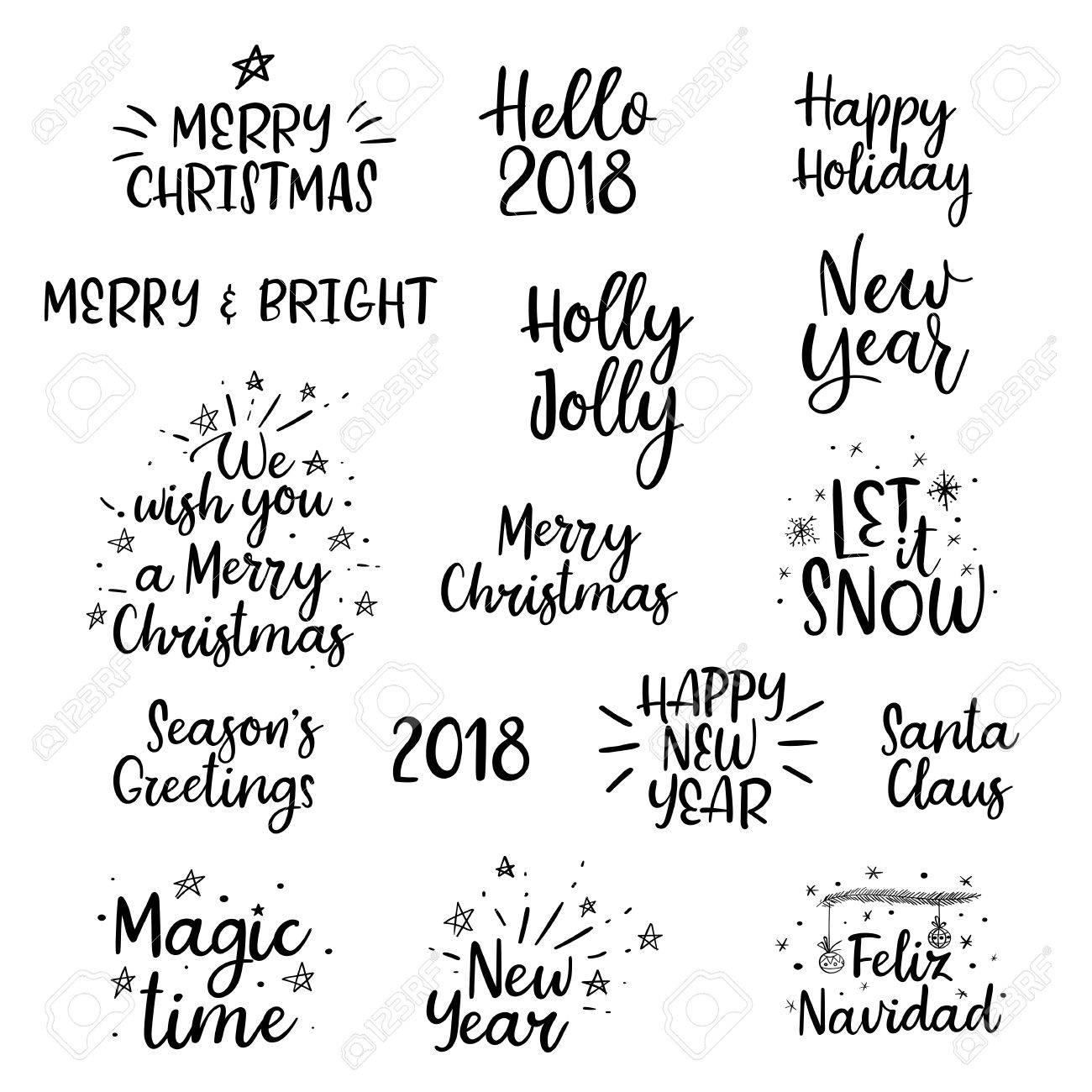 メリー クリスマス、幸せな新しい年 2018 手書きを設定します。書道。