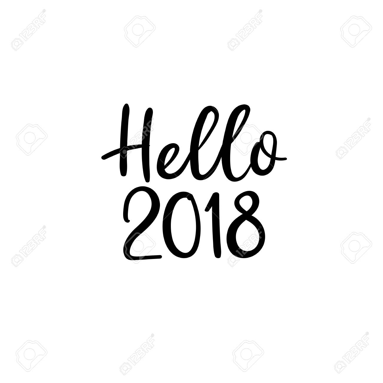 hello 2018 happy new year handwritten greeting card modern calligraphy stock vector