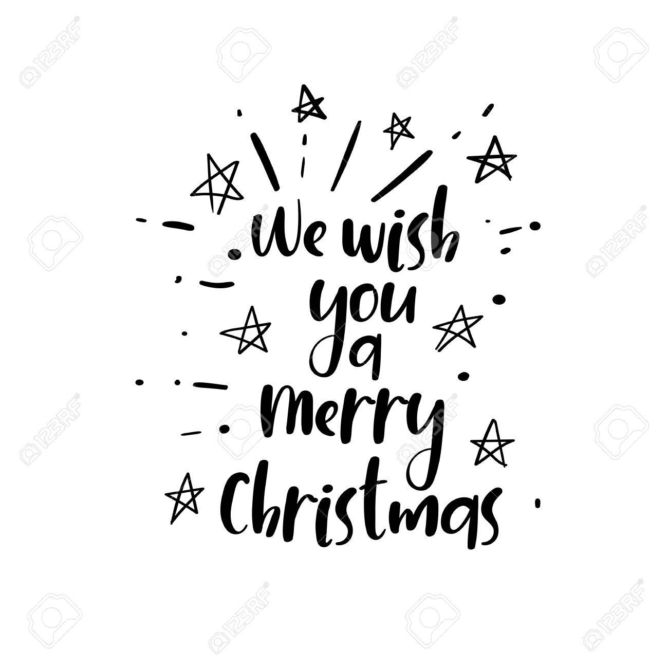 We Wish You A Merry Christmas Handwritten Text On A White Background ...