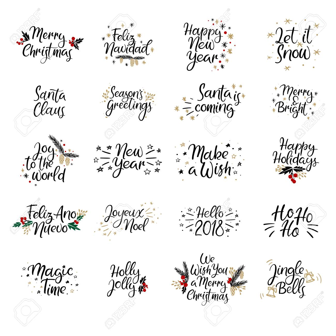 set of merry christmas and happy new year cards modern calligraphy hand lettering for
