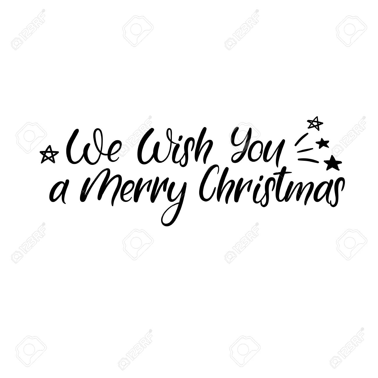 We Wish You A Merry Christmas Hand Lettering Greeting Card. Vector ...