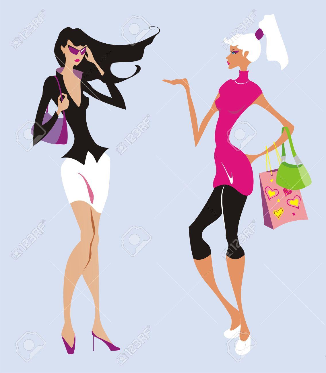 Two beautiful fashion women go shopping - 5802355