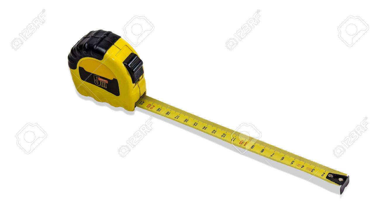 yellow tape measure to measure the dimensions of the metric system with pulled out tape on