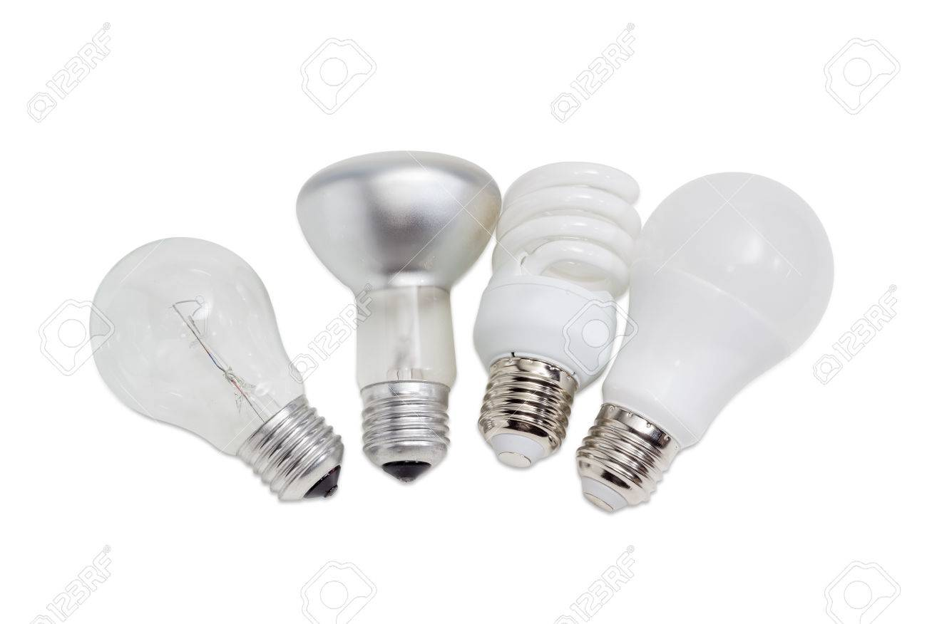 Electric Lamps Of Different Types Of Electric Lighting   Incandescent Lamp  Ordinary And Lamp With Specular