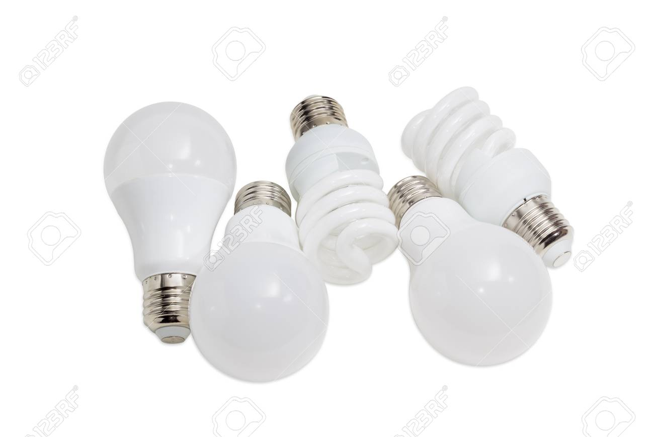 Stock Photo   Various Energy Saving Electric Lamps Of Different Types    Compact Fluorescent Lamps And Light Emitting Diode Lamps On A Light  Background