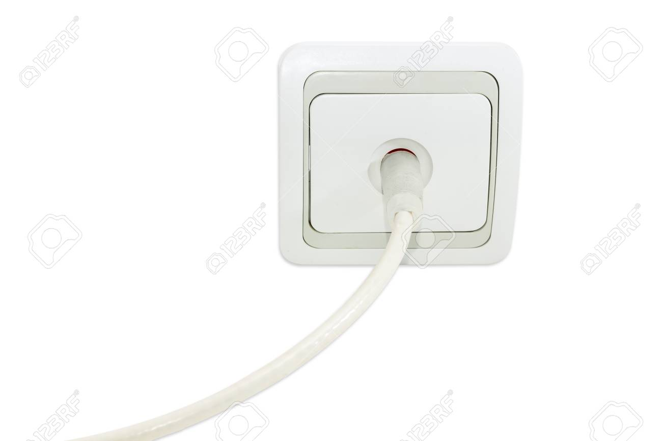 White and gray domestic TV aerial wall socket with the connected