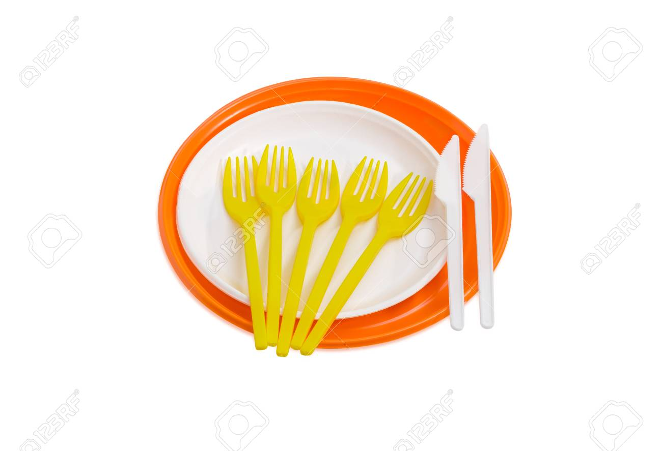 Orange and white disposable plastic plates different sizes plastic disposable yellow forks and white knives  sc 1 st  123RF.com & Orange And White Disposable Plastic Plates Different Sizes Plastic ...