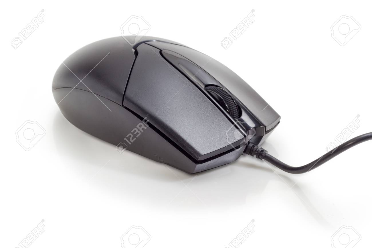 Modern black typical cabled optical computer mouse with two buttons