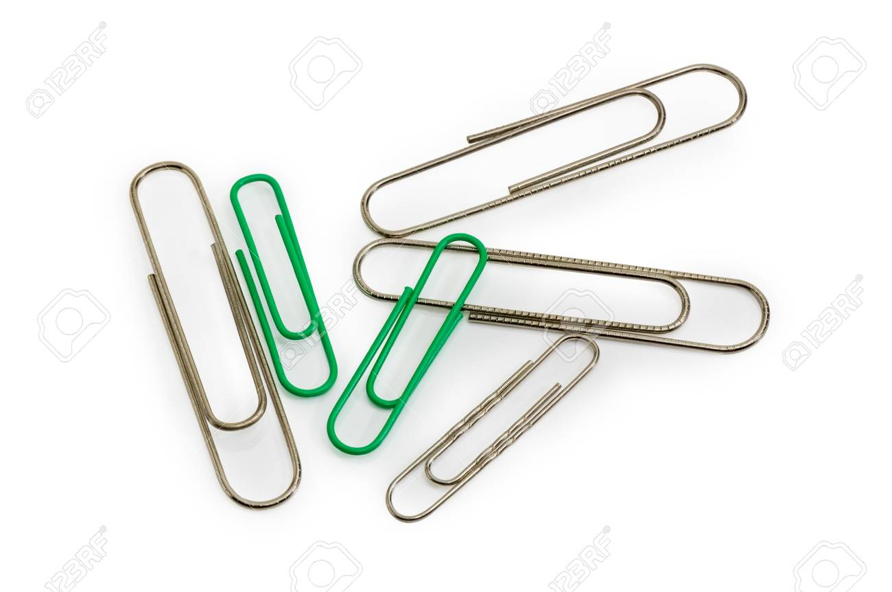 steel wire paper clips different sizes and paper clips with green