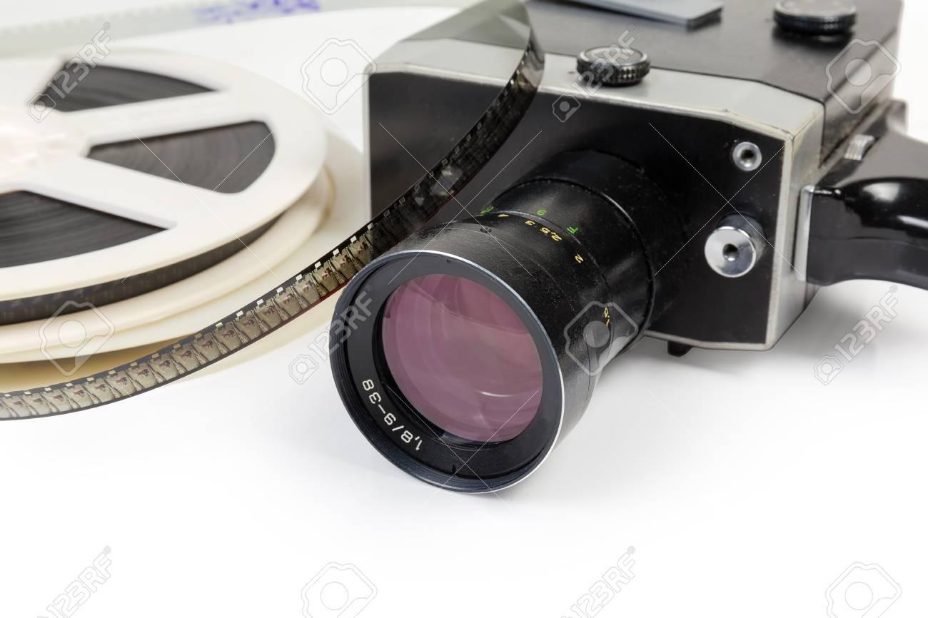 8Mm Vintage Camera fragment of vintage amateur film movie camera and reels of color..