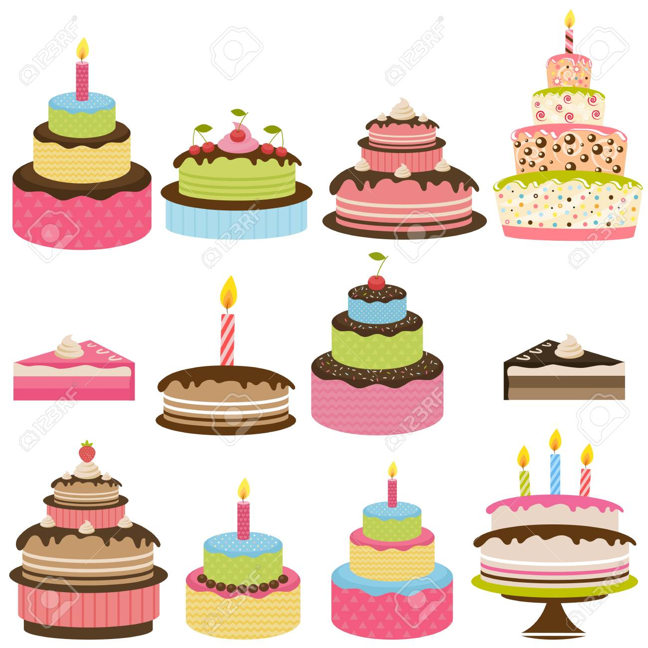 Cool Set Of Colorful Birthday Cakes Royalty Free Cliparts Vectors And Funny Birthday Cards Online Fluifree Goldxyz