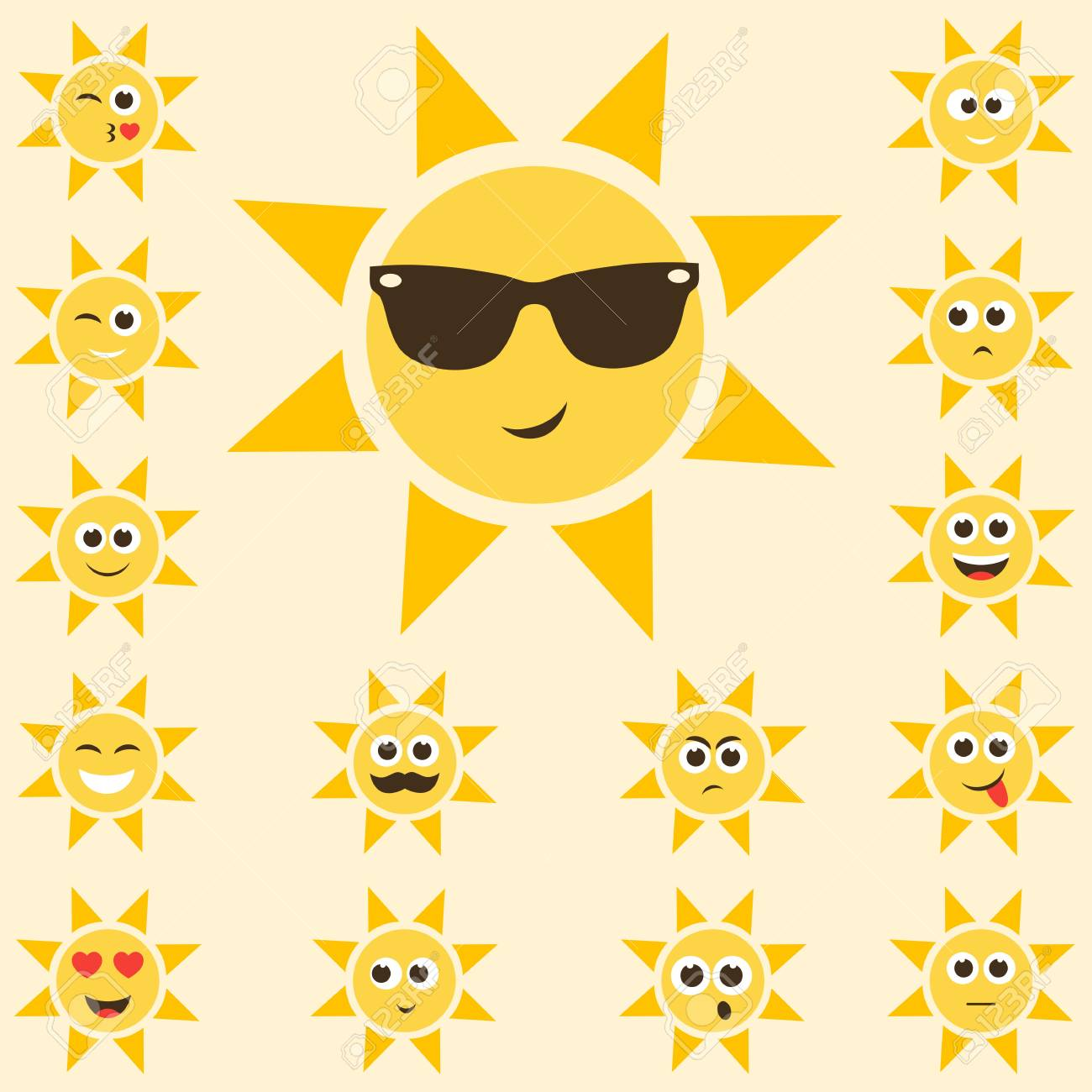 Sun Set With Funny Smiley Faces Royalty Free Cliparts Vectors And