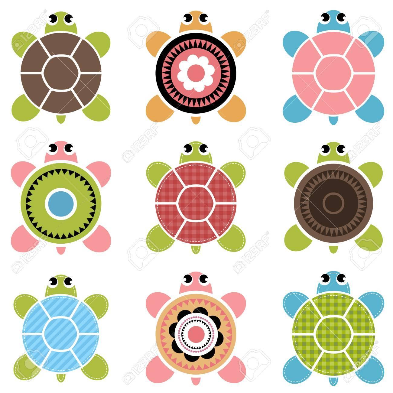 Conjunto De Las Tortugas De Color Ilustraciones Vectoriales, Clip ...