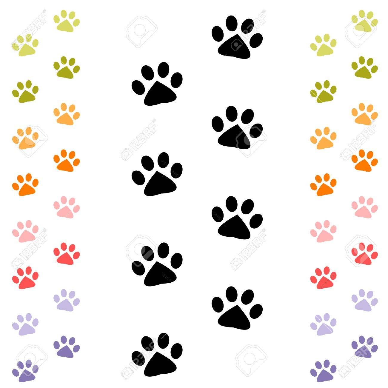 黒とカラフルな動物の足跡 ロイヤリティフリークリップアート