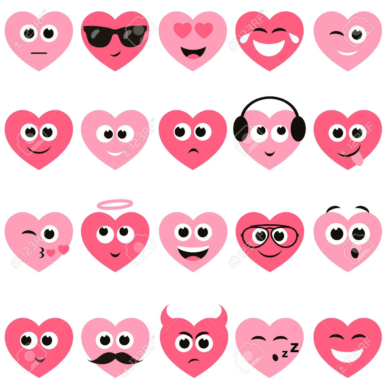 red and pink hearts with smiley faces royalty free cliparts, vectors