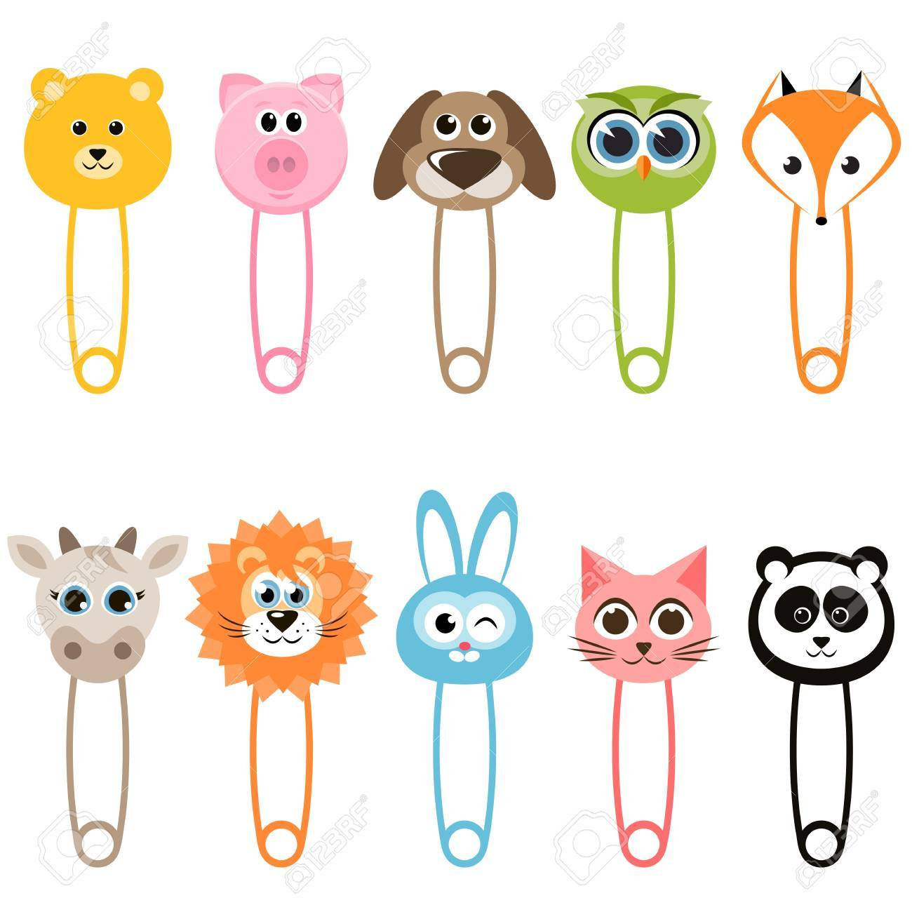 set of baby animal safety pins royalty free cliparts vectors and